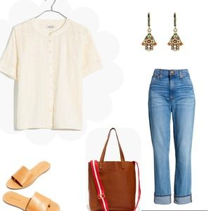 Madewell Eyelet Boxy Button-Down Top